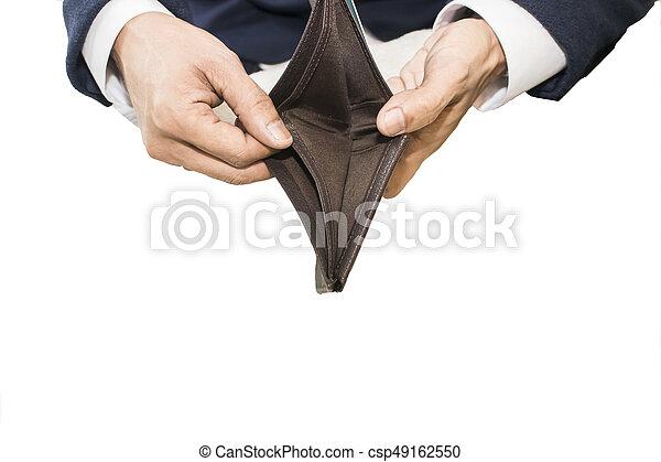 Businessman holding an empty wallet - csp49162550