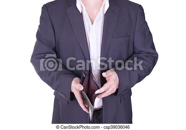 Businessman holding an empty wallet. - csp39036046