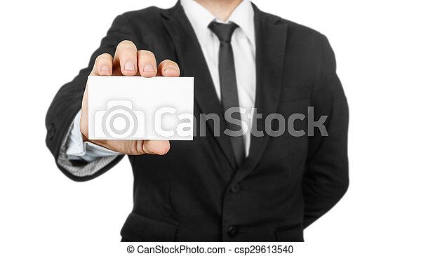 businessman holding blank visit card - csp29613540