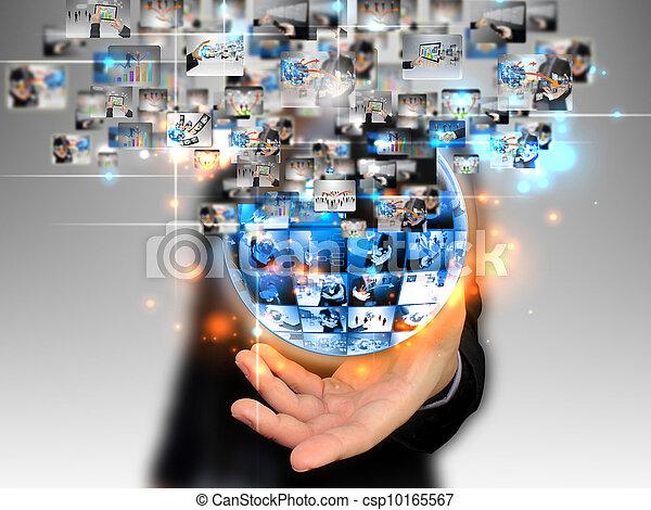 businessman holding business world - csp10165567