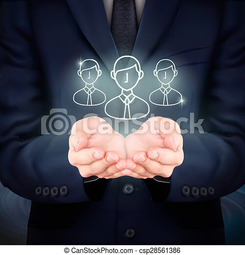 businessman holding customer service icon - csp28561386