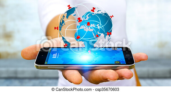 Businessman holding digital world map in his hands businessman with businessman holding digital world map in his hands csp35670603 gumiabroncs Choice Image