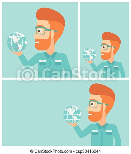 Businessman holding Earth globe. - csp38416244