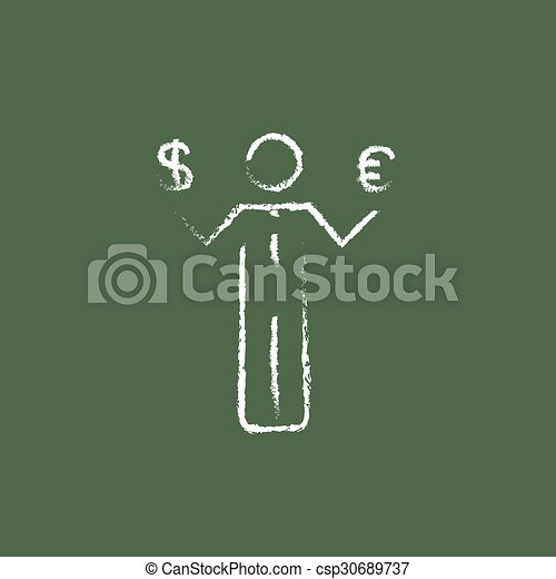 Businessman holding Euro and US dollar icon drawn in chalk. - csp30689737