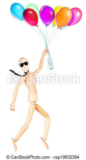 businessman holding flying balloons - csp19832394