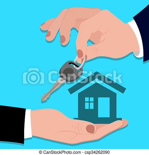 businessman holding house - csp34262090