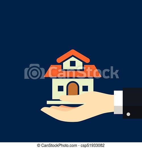 Businessman holding House-Vector flat design - csp51933082