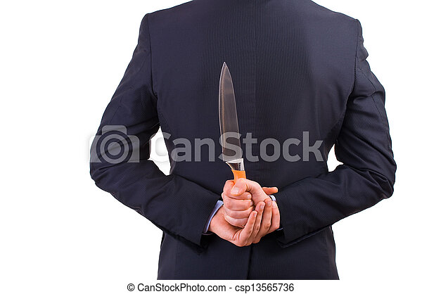 Businessman holding knife behind his back. - csp13565736