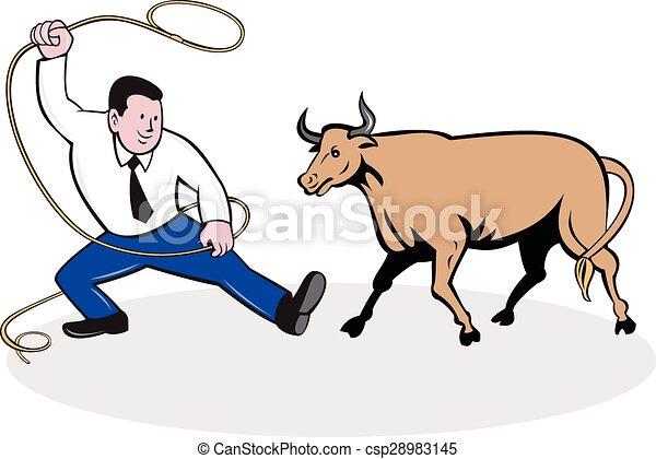 Businessman Holding Lasso Bull Cartoon - csp28983145