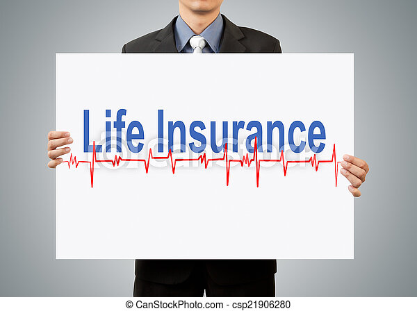 businessman holding life insurance concept - csp21906280
