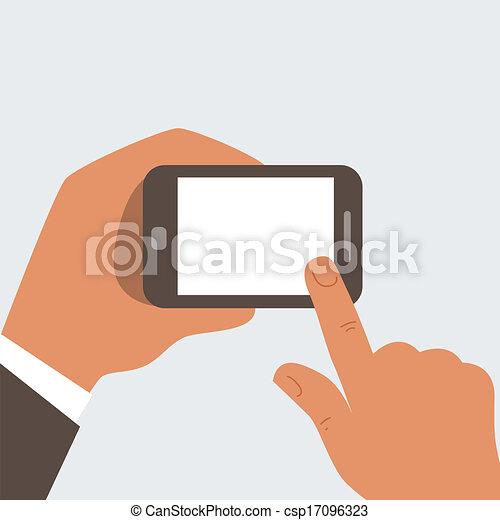 Businessman holding mobile phone  - csp17096323