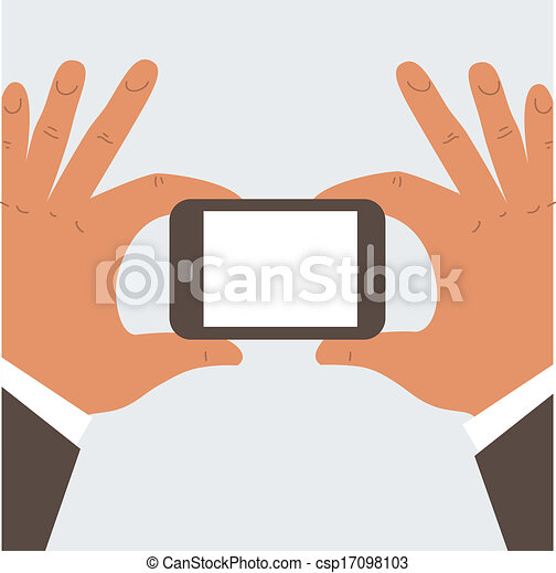 Businessman holding mobile phone - csp17098103