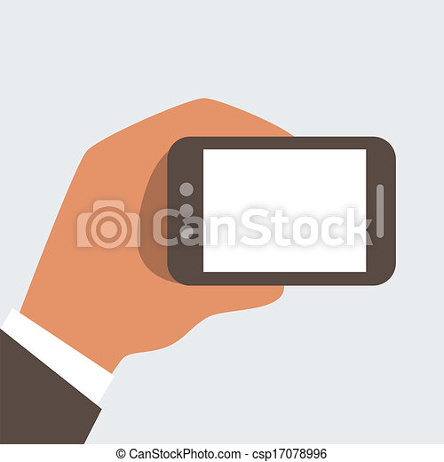 Businessman holding mobile phone wi - csp17078996