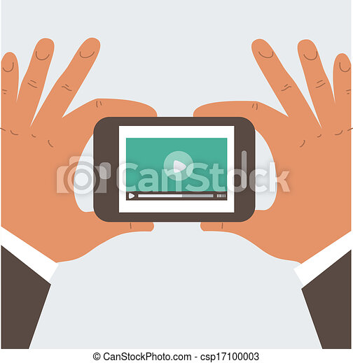 Businessman holding mobile phone with blank screen - csp17100003