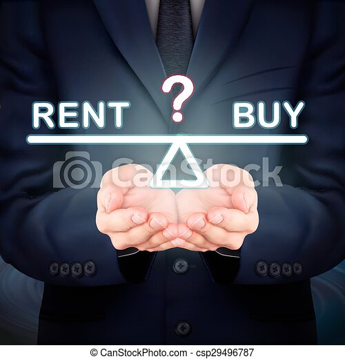 businessman holding rent and buy seesaw - csp29496787
