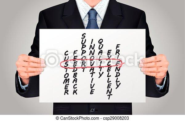 businessman holding service crossword poster - csp29008203