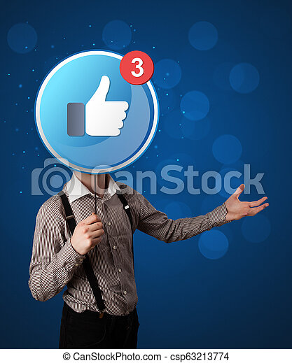 Businessman holding sign - csp63213774
