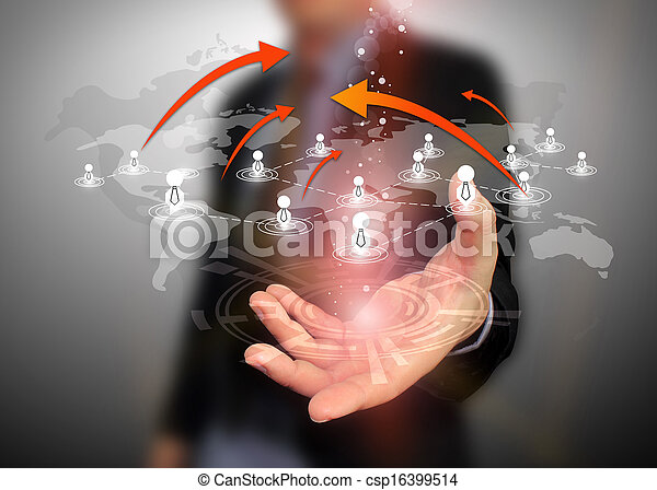 Businessman holding social network - csp16399514