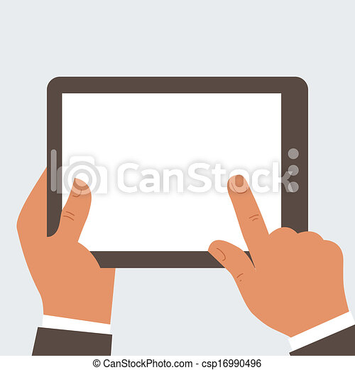 Businessman holding tablet computer - csp16990496