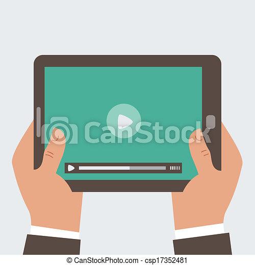 Businessman holding tablet computer  - csp17352481