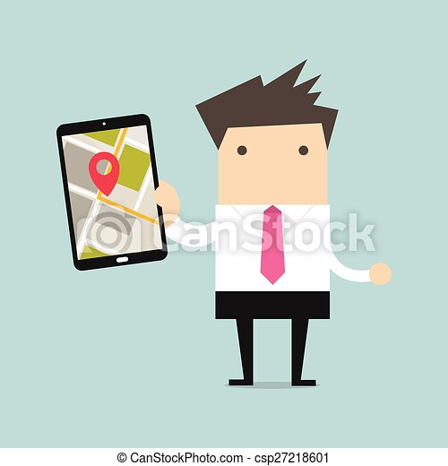 Businessman holding tablet computer - csp27218601