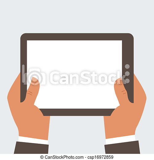 Businessman holding tablet computer with blank screen - csp16972859