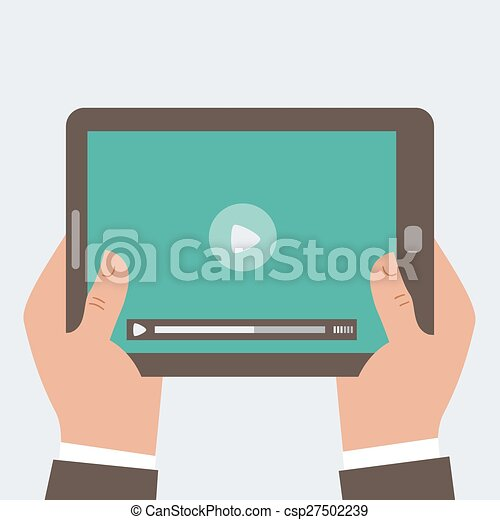 Businessman holding tablet computer with blank screen 2 - csp27502239