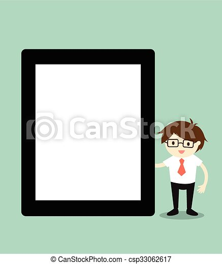 Businessman holding tablet.  - csp33062617