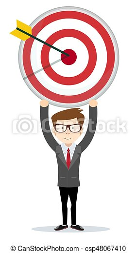 Businessman holding the big target. - csp48067410