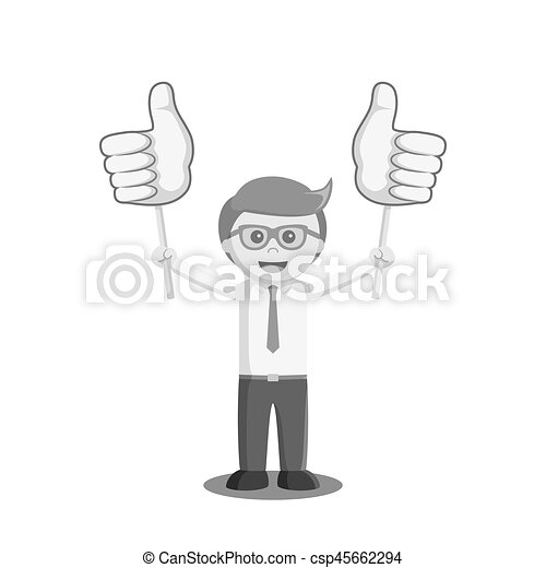 businessman holding two thumb up sign board black and white color style - csp45662294
