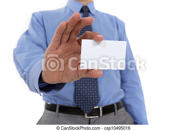 Businessman holding up his business card - csp10495016