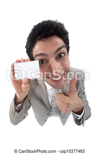 Businessman holding up his business card - csp10377483