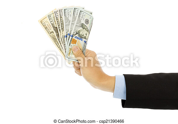 Businessman holding us dollar . isolated on a white background - csp21390466