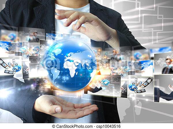 Businessman holding world .Technology concept  - csp10043516