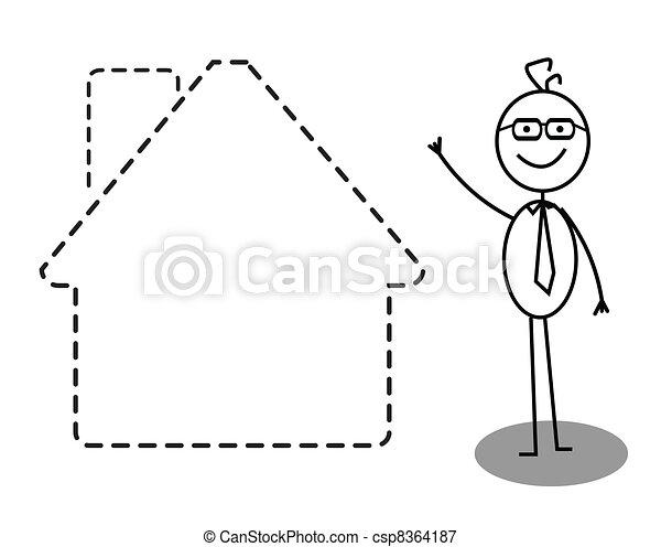 Businessman house  - csp8364187