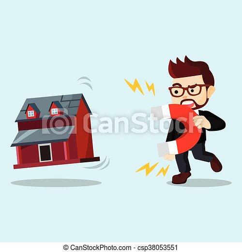 businessman house magnet - csp38053551