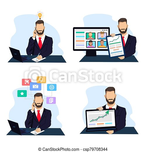 Businessman in a business process - csp79708344