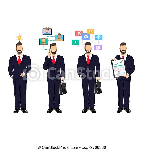 Businessman in a business process - csp79708330