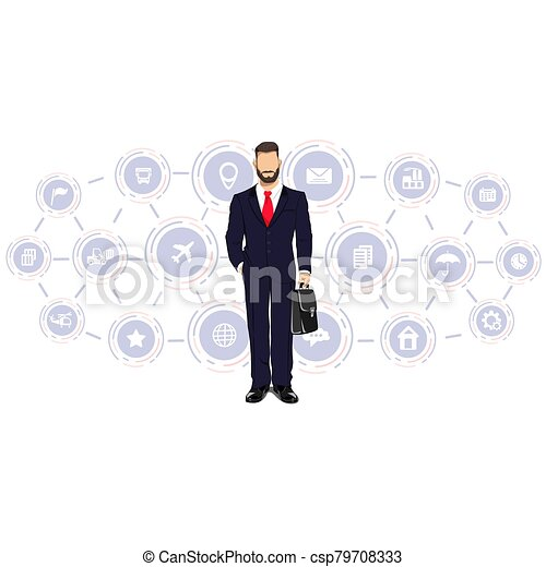 Businessman in a business process - csp79708333