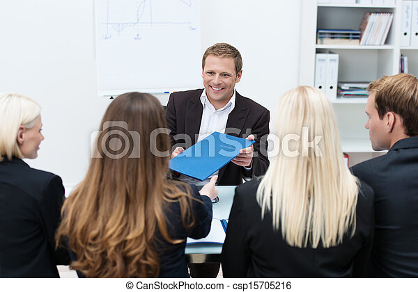 Businessman in a corporate interview - csp15705216