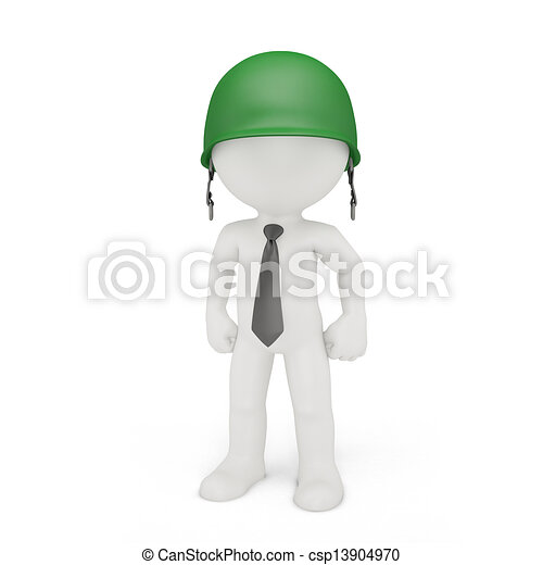 Businessman in a military helmet - csp13904970