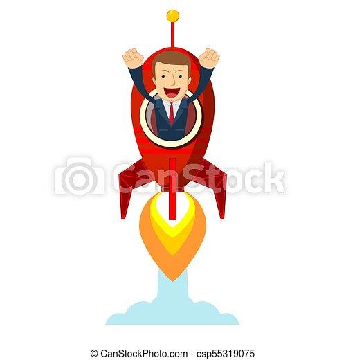 Businessman in a rocket. Business Start up concept. - csp55319075