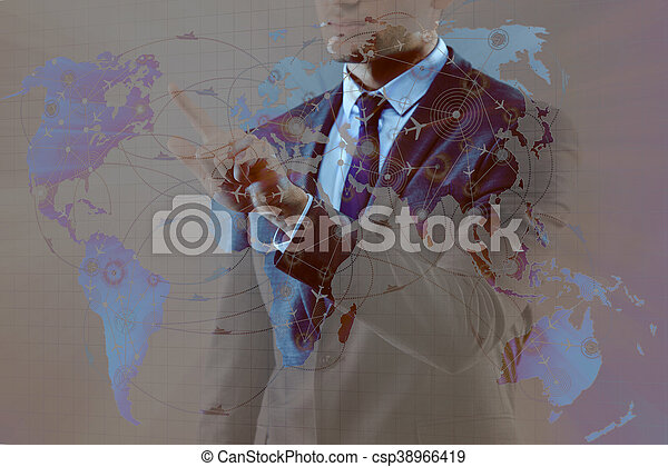 Businessman in air transportation concept - csp38966419