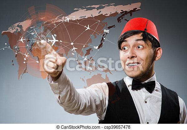 Businessman in air transportation concept - csp39657478
