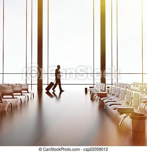 businessman in airport - csp22058012
