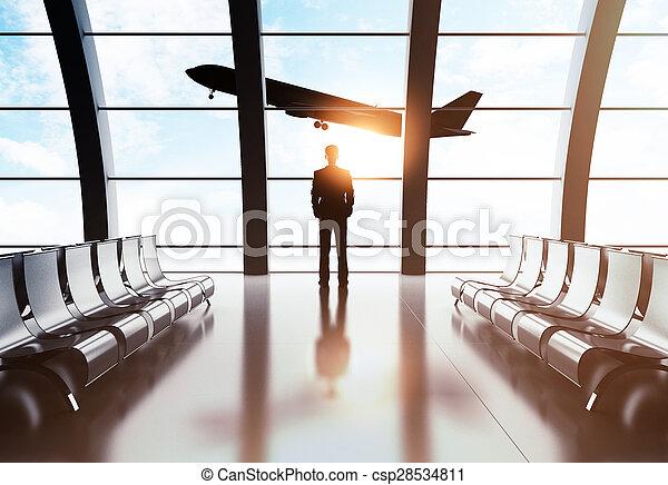 businessman in airport - csp28534811