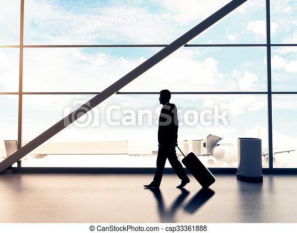 businessman in airport - csp33361888