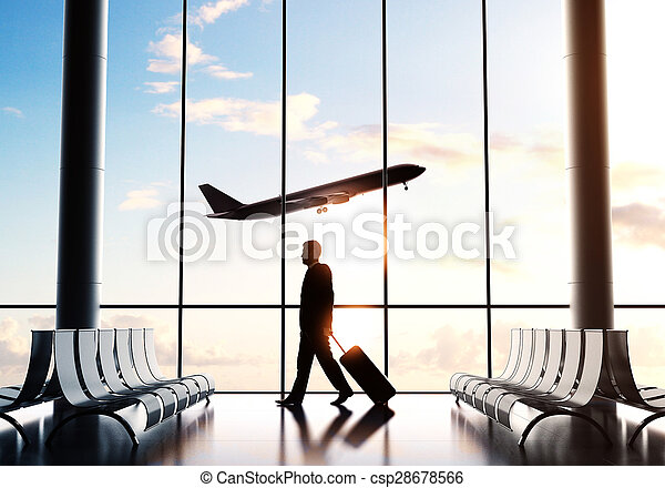 businessman in airport - csp28678566