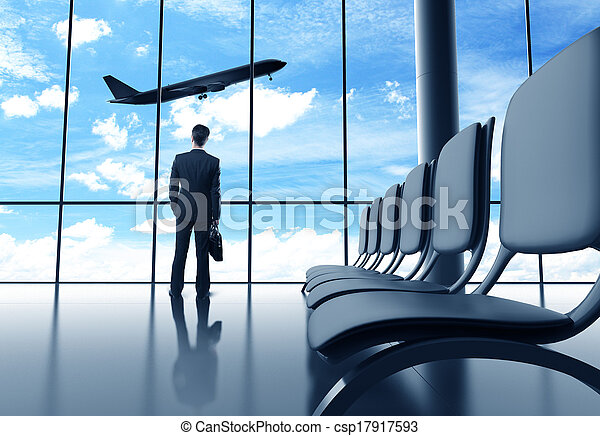 businessman in airport - csp17917593