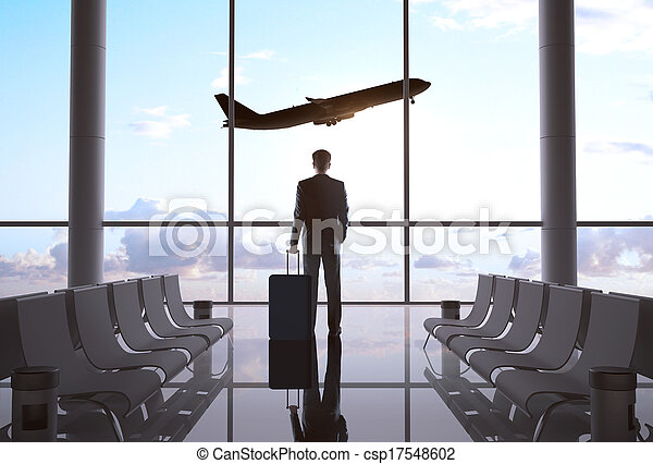 businessman in airport - csp17548602